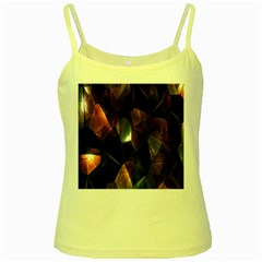 Crystals Background Design Luxury Yellow Spaghetti Tank