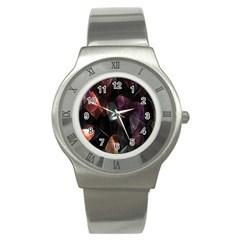 Crystals Background Design Luxury Stainless Steel Watch