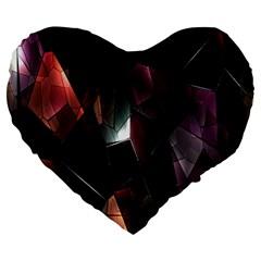 Crystals Background Design Luxury Large 19  Premium Heart Shape Cushions