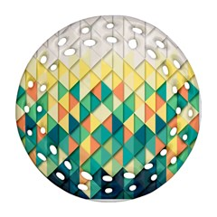 Background Geometric Triangle Round Filigree Ornament (two Sides)