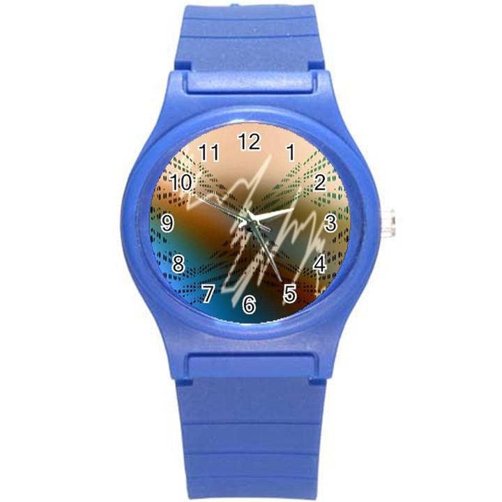 Pop Art Edit Artistic Wallpaper Round Plastic Sport Watch (S)