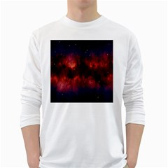 Astronomy Space Galaxy Fog White Long Sleeve T Shirts