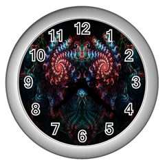 Abstract Background Texture Pattern Wall Clocks (silver)