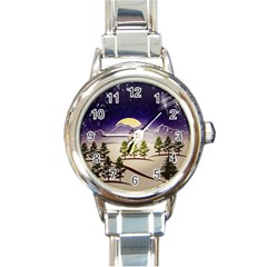 Background Christmas Snow Figure Round Italian Charm Watch