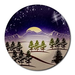 Background Christmas Snow Figure Round Mousepads