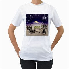 Background Christmas Snow Figure Women s T Shirt (white) (two Sided)