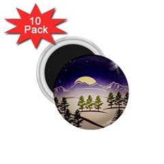 Background Christmas Snow Figure 1 75  Magnets (10 Pack)