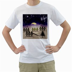 Background Christmas Snow Figure Men s T Shirt (white) (two Sided)