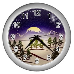 Background Christmas Snow Figure Wall Clocks (silver)