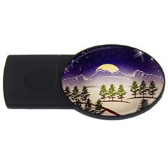 Background Christmas Snow Figure Usb Flash Drive Oval (2 Gb)