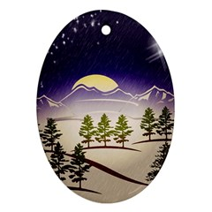 Background Christmas Snow Figure Oval Ornament (two Sides)