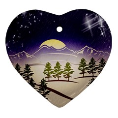 Background Christmas Snow Figure Heart Ornament (two Sides)