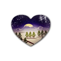 Background Christmas Snow Figure Heart Coaster (4 Pack)