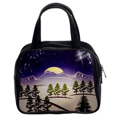 Background Christmas Snow Figure Classic Handbags (2 Sides)