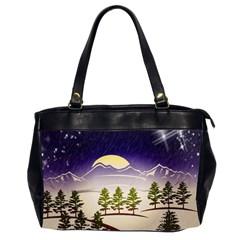 Background Christmas Snow Figure Office Handbags (2 Sides)