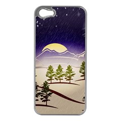 Background Christmas Snow Figure Apple Iphone 5 Case (silver)