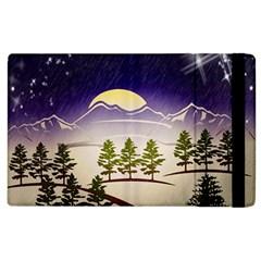 Background Christmas Snow Figure Apple Ipad 2 Flip Case