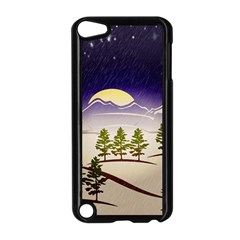 Background Christmas Snow Figure Apple Ipod Touch 5 Case (black)