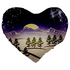 Background Christmas Snow Figure Large 19  Premium Heart Shape Cushions