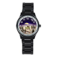 Background Christmas Snow Figure Stainless Steel Round Watch