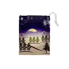 Background Christmas Snow Figure Drawstring Pouches (small)