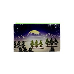 Background Christmas Snow Figure Cosmetic Bag (xs)