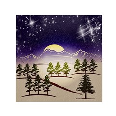 Background Christmas Snow Figure Small Satin Scarf (square)