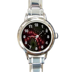 Background Texture Pattern Round Italian Charm Watch