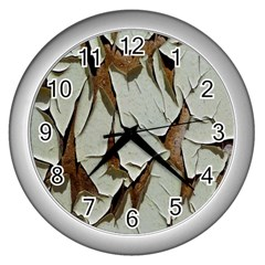 Dry Nature Pattern Background Wall Clocks (silver)