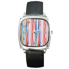 Background Decorate Colors Square Metal Watch