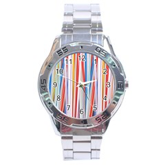 Background Decorate Colors Stainless Steel Analogue Watch