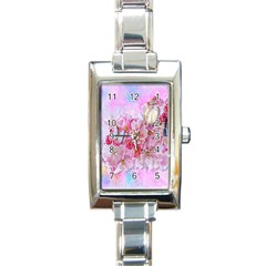 Nice Nature Flowers Plant Ornament Rectangle Italian Charm Watch