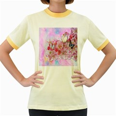 Nice Nature Flowers Plant Ornament Women s Fitted Ringer T Shirts