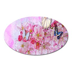 Nice Nature Flowers Plant Ornament Oval Magnet