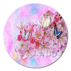 Nice Nature Flowers Plant Ornament Magnet 5  (round)