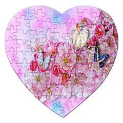 Nice Nature Flowers Plant Ornament Jigsaw Puzzle (heart)