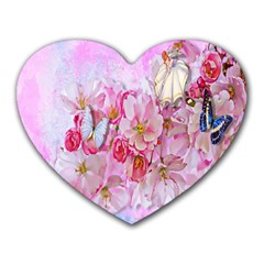 Nice Nature Flowers Plant Ornament Heart Mousepads
