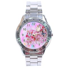 Nice Nature Flowers Plant Ornament Stainless Steel Analogue Watch