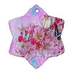 Nice Nature Flowers Plant Ornament Snowflake Ornament (two Sides)