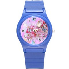 Nice Nature Flowers Plant Ornament Round Plastic Sport Watch (s)