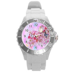 Nice Nature Flowers Plant Ornament Round Plastic Sport Watch (l)
