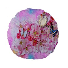 Nice Nature Flowers Plant Ornament Standard 15  Premium Round Cushions