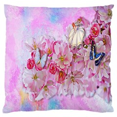 Nice Nature Flowers Plant Ornament Large Flano Cushion Case (two Sides)