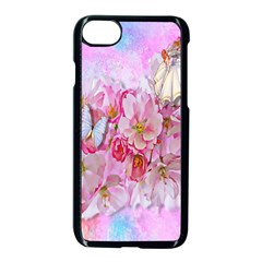 Nice Nature Flowers Plant Ornament Apple Iphone 7 Seamless Case (black)