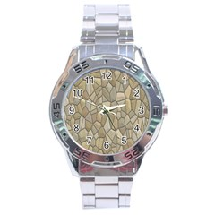 Tile Steinplatte Texture Stainless Steel Analogue Watch