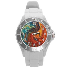 Creativity Abstract Art Round Plastic Sport Watch (l)
