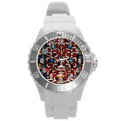 Decoration Art Pattern Ornate Round Plastic Sport Watch (l)