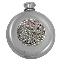 Droplets Pane Drops Of Water Round Hip Flask (5 Oz)