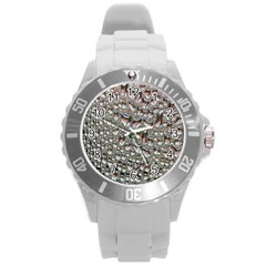 Droplets Pane Drops Of Water Round Plastic Sport Watch (l)