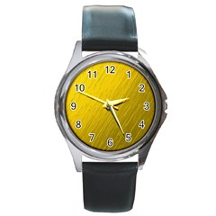 Golden Texture Rough Canvas Golden Round Metal Watch